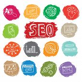 picture of drow  - Doodle hand drow business seo sketchy icons on colored spot - JPG