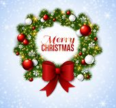 picture of christmas wreath  - Christmas wreath with red and white baubles - JPG