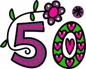 image of special occasion  - Hand drawn cartoon doodle number fifty which can be used for special occasion celebrations such as a birthday or wedding anniversary - JPG