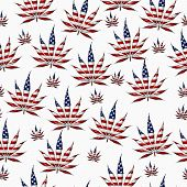 image of marijuana leaf  - Marijuana Leaf with the colors of American flag Marijuana Leaf Pattern Repeat Background that is seamless and repeats - JPG