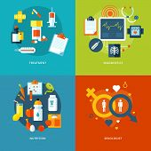foto of medical examination  - Set of flat design concepts for medical icons for mobile apps and web design - JPG