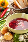 picture of pampushka  - Beetroot and Cabbage Soup with Bread - JPG