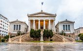 stock photo of socrates  - View of the National Library in Athens  - JPG