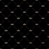 stock photo of crown  - Seamless vector gold pattern with king crowns on a black background - JPG