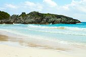 stock photo of horseshoe  - Bermuda Horseshoe Bay beach scene empty without any tourists - JPG