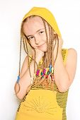 picture of dreadlocks  - Young girl with dreadlocks and yellow blouse - JPG