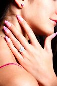 pic of gels  - Closeup of trendy extravagant long gel polished nails - JPG