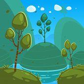 picture of fantasy landscape  - Cartoon illustration of the summer fantasy landscape - JPG