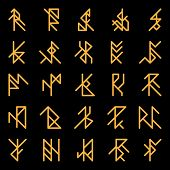 stock photo of rune  - Set of abstract ancient runes - JPG