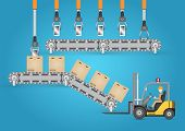 stock photo of forklift  - Forklift working with carton and transfer belt - JPG