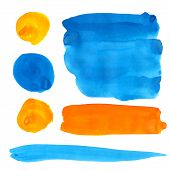 stock photo of stroking  - Blue and orange gouache paint stains and strokes - JPG