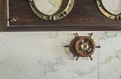 stock photo of rudder  - Boat details on wall - JPG