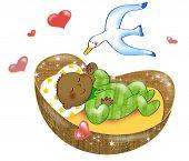 picture of bassinet  - Digital illustration of cute black skinned baby sleeping in his cot - JPG