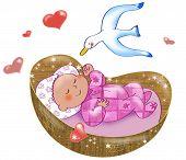pic of bassinet  - Digital illustration of cute baby girl in pink sleeping in her cot - JPG