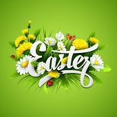 stock photo of easter flowers  - Title Easter with spring flowers - JPG