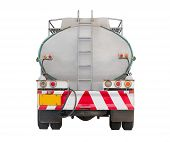 stock photo of tank truck  - Oil tank on truck backside view clipping path in file - JPG