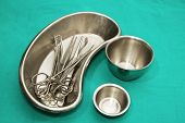 stock photo of surgical instruments  - set of surgical instrument on sterile tray - JPG