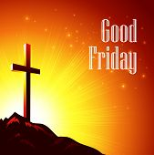 pic of friday  - Good Friday background with cross and yellow sunburst - JPG