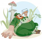 stock photo of pot-bellied  - Fat leprechaun with a beer sitting in the grass - JPG