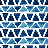 stock photo of pattern  - Watercolor modern pattern with blue triangles - JPG