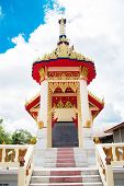 stock photo of crematory  - crematory or pyre against blue sky in Thai temple  - JPG