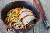stock photo of buckwheat  - buckwheat noodles with vegetables - JPG