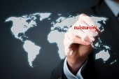 stock photo of globalization  - Outsourcing globalization and global business strategy concept - JPG