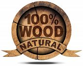 picture of 100 percent  - Wooden icon with wooden ribbon and text 100 - JPG