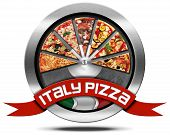 pic of italian flag  - Metal icon or symbol with pizza slices Italian flag and red ribbon with text Italy pizza - JPG