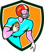 image of scat  - Illustration of an american football gridiron player holding ball rusher running looking to the side set inside shield crest on isolated background done in cartoon style - JPG