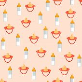 image of nipple  - Seamless background with baby bottles and nipples for your design - JPG