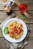 picture of spaghetti  - Spaghetti with tomato and mushroom sauce - JPG