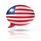 stock photo of three-dimensional  - three dimensional Liberia flag in a speech bubble isolated on white with clipping path - JPG