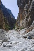 stock photo of samaria  - Rocky slopes Samaria Gorge on Crete Island - JPG