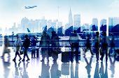 image of terminator  - Business People Travel Departure Airport Passenger Terminal Concept - JPG