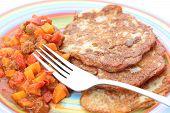 pic of hungarian  - Traditional hungarian potato pancake with goulash healthy food  - JPG