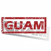 stock photo of guam  - Outlined red stamp with country name Guam - JPG