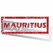 stock photo of mauritius  - Outlined red stamp with country name Mauritius - JPG