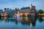 foto of prime-minister  - Binnenhof palace place of Parliament at Dusk in The Hague Netherlands - JPG