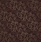 picture of brocade  - Vintage Dark Red And Gold Seamless Floral Pattern With Clipping Mask - JPG