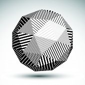 foto of isosceles  - Abstract 3D rounded vector contrast figure constructed from striped isosceles triangles - JPG