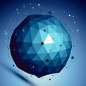 picture of asymmetric  - Blue spatial vector digital lattice backdrop - JPG