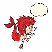 image of mermaid  - cartoon mermaid blowing a kiss with thought bubble - JPG