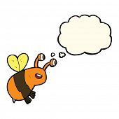 stock photo of bee cartoon  - cartoon happy bee with thought bubble - JPG