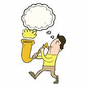 pic of saxophone player  - cartoon man blowing saxophone with thought bubble - JPG
