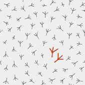 image of hoof prints  - Hand drawn cartoon trace of birds - JPG