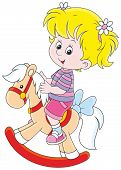 pic of horse girl  - Happy little girl riding a toy horse - JPG