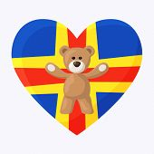 picture of visitation  - Teddy Bears with heart with flag of Aland Islands - JPG