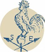 picture of roosters  - Etching engraving handmade style illustration of a rooster cockerel crowing standing on top of weather vane viewed from the side set inside circle on isolated background - JPG