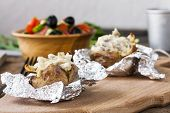 pic of baked potato  - Baked potato with mushrooms cream and cheese - JPG